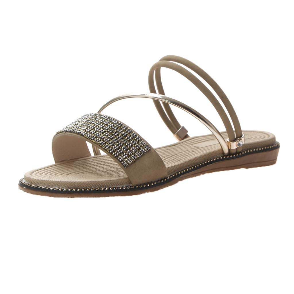 2019 Hot Summer Women' Chain Beads Slippers Open Toe Beach Shoes Casual Slippers Bohemian Seaside Flat Sandals (Beige, 6)