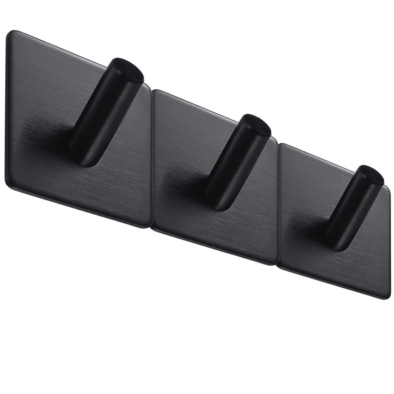 BasicForm Adhesive Hooks Brushed Stainless Steel Black (3 Pack)