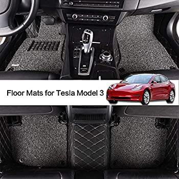 Image of AOYMEI Floor Mats for Tesla Model 3 Custom Fit 2019 Double Layer Fully Surrounded Protection Waterproof All-Weather Heavy Duty Detachable Wire Loop Nonslip Front and Second Row (Black) Floor Mats
