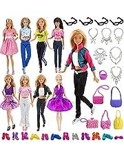 VanStar 34 Random Item/Set Doll Accessories, 6 Sets Fashion Dresses Casual Wear Clothes with 12 Pair Shoes + 4 Glasses + 6 Necklaces + 6 Handbag for Barbie Doll Random Style