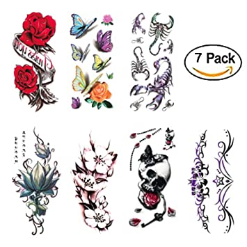 cd08416f2 Amazon.com : 3D Temporary Tattoos for Women Sexy Body Stickers Floral Butterfly  Scorpion Design Waterproof 7 sheet for Arms Leg Beast Back (2) : Beauty