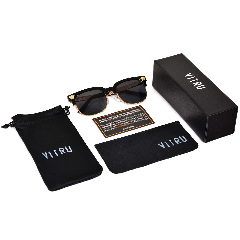 5fb5bd2d1c6e Amazon.com: VITRU Medusa - Retro Rivet Sunglasses (Black x Black): Clothing