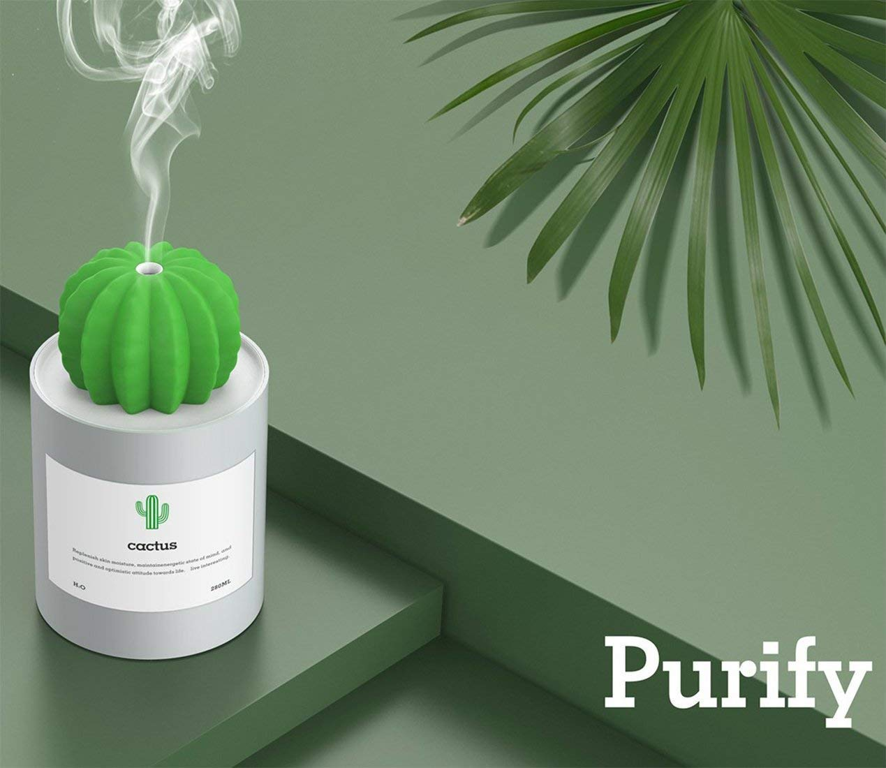 Ultra-Quiet Operation for Bedroom Home Office Desk Yoga Car Travel 280ml USB Cool Mist Portable Cactus Air humidifier White AOLODA Mini Humidifier