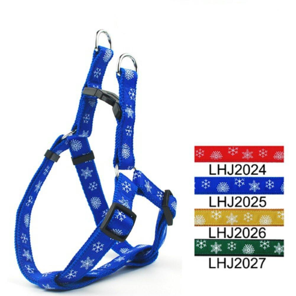 bluee Medium bluee Medium bluee Christmas Snowflake Pet Adjustable Dog Harness for Dogs and Cats 3 4  Medium