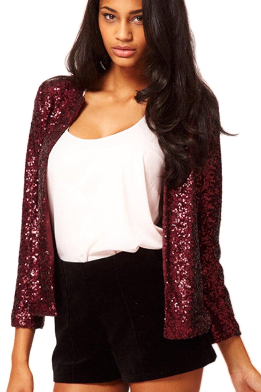 Women Elegant Long Sleeve Paillettes Sequins Office Blazer OL Business Suits Outcoat CAFZ993