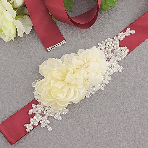 Women's Wedding Sash Burgundy Belt Belt Flowers Pearls Bridal Sash Dress ULAPAN S172 xafw7q7A