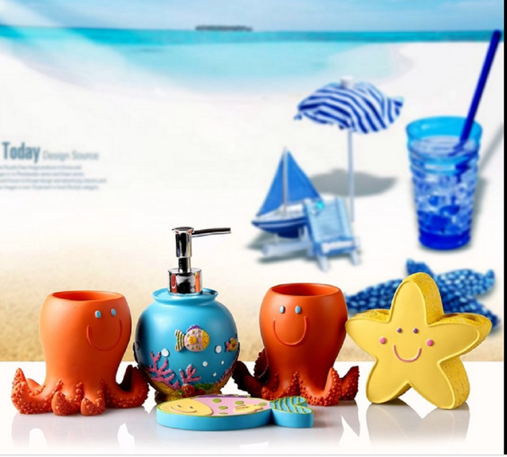 Ceramic Ocean Bathroom Accessory Set - Cute Baby Octopus