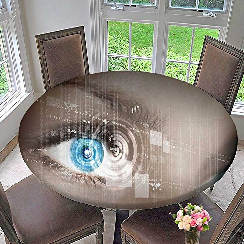 - PINAFORE HOME Round Premium Tablecloth Eye View Digital Information Represented by Circles and Signs Stain Resistant 47.5