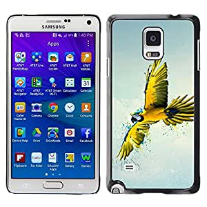 Paccase / SLIM PC / Aliminium Casa Carcasa Funda Case Cover para - Popular Parrot Yellow Blue Colorful Flying Bird Nature - Samsung Galaxy Note 4 SM-N910F SM-N910K SM-N910C SM-N910W8 SM-N910U SM-N910