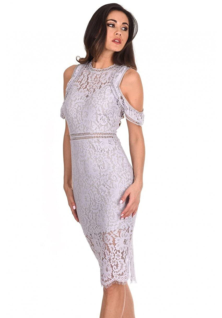 65deaa9f261d AX Paris Women's Cold Shoulder Lace Midi Dress at Amazon Women's Clothing  store: