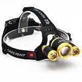 BenRan Headlamp CREE 3 T6 Super Bright Light Adjustable Focus Zoom Lights Lamp,Headlight Bicycle LED Flashlight,4 Modes,USB Rechargeable Batteries (Zoom Lights, Golden)