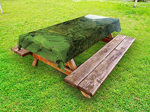Cheap  Balinese Outdoor Tablecloth by Ambesonne, Terraced Rice Paddies in Hillside Tropical Valley..