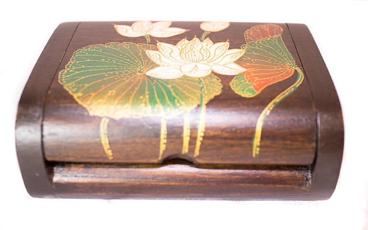 Thai Teak Handmade Wooden Jewelry Painted Box with White Lotus & Wooden Storage Keepsake BOX