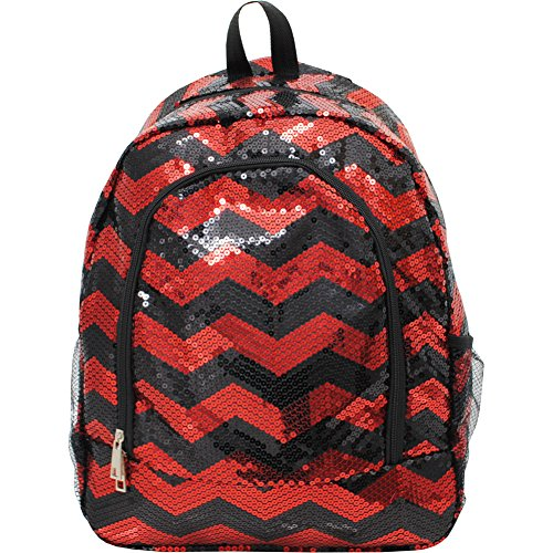 Chevron Pattern Sequin Cheer Yoga Girly School Backpack (Red/Black)