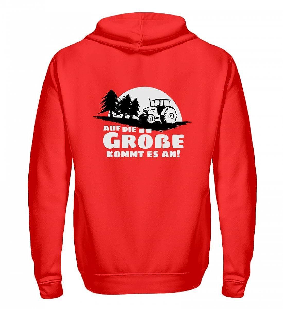 Shirtee Auf die Größe kommt es an - Eine Traktor Lebensweisheit für Landwirte, Forstwirte und Bauern - Zip-Hoodie