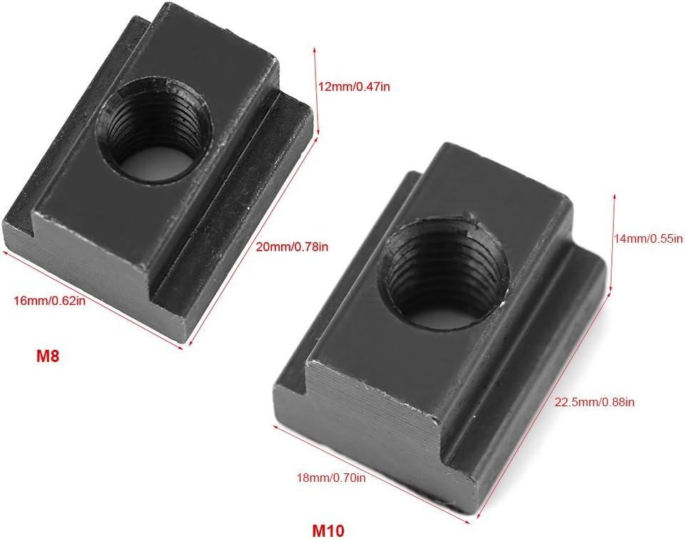 Taglia : M8 5 Pezzi con Finitura in Ossido Nero Dadi con Intaglio A T I Filetti Si Adattano alle Scanalature A T nelle Tabelle delle Macchine Utensili Dadi con Intaglio A T