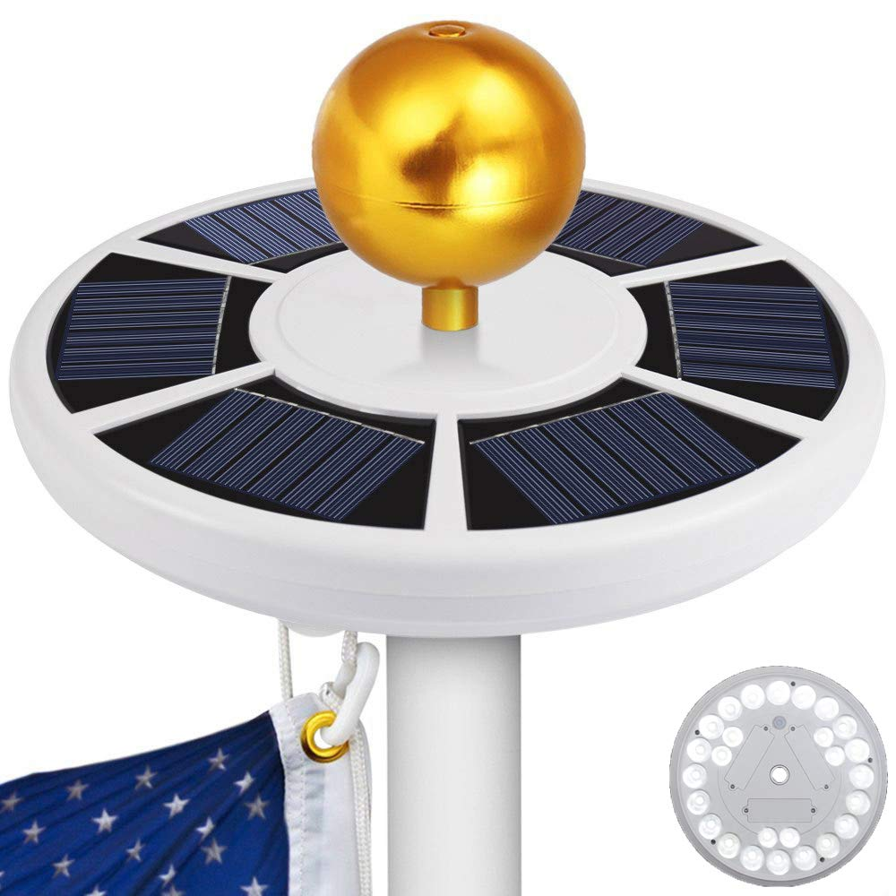 Blinngo 26 LED Flag Pole Lights Solar Powered Waterproof Flagpole Downlight for Most 15 to 25 Ft Dusk to Dawn Auto On/Off Night Lighting