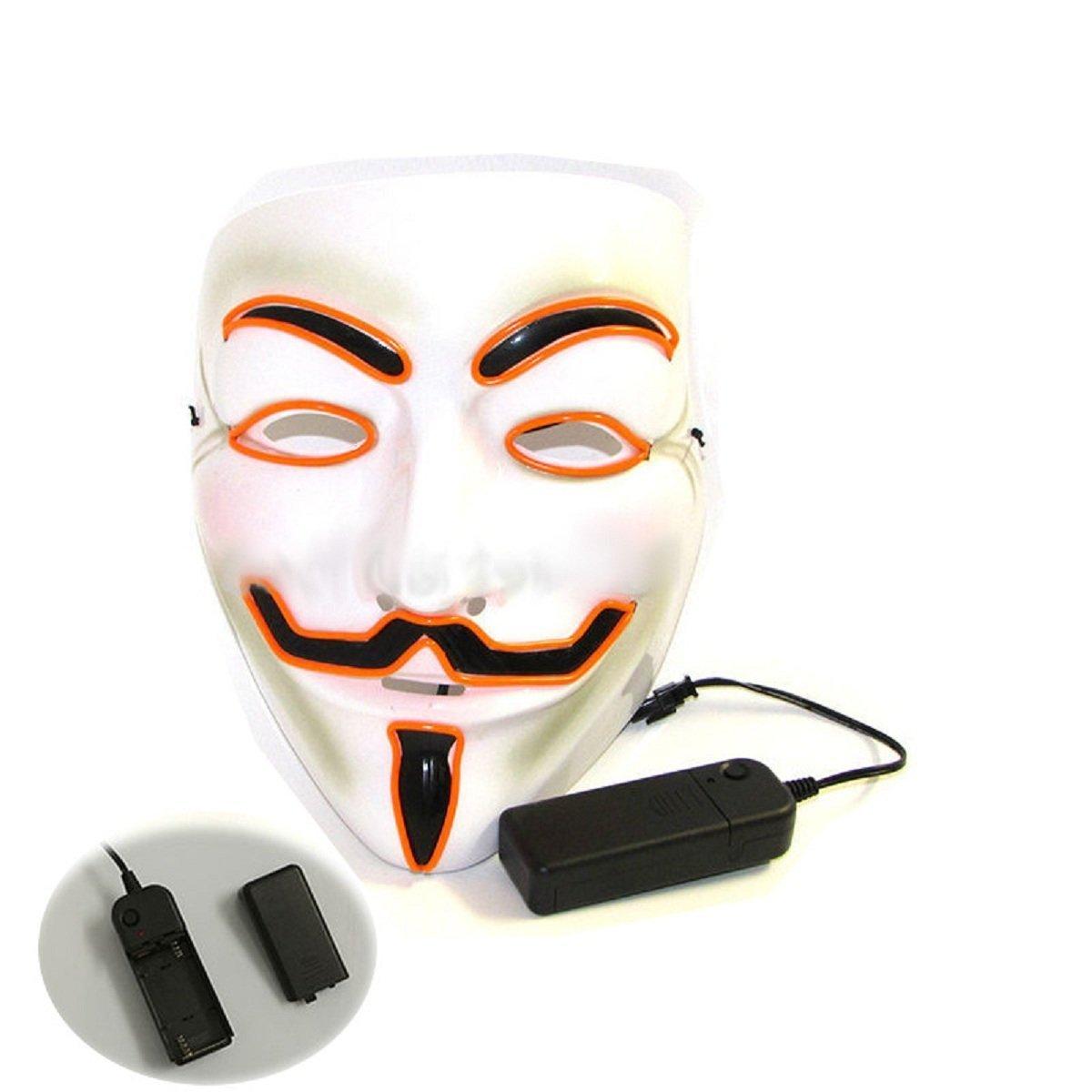 Inception Pro Infinite Máscara para Disfraz - Traje - Carnaval - Halloween - Anónimo - Led Brillante - Naranja - Adultos - Unisex - Mujer - Hombre - Niños ...