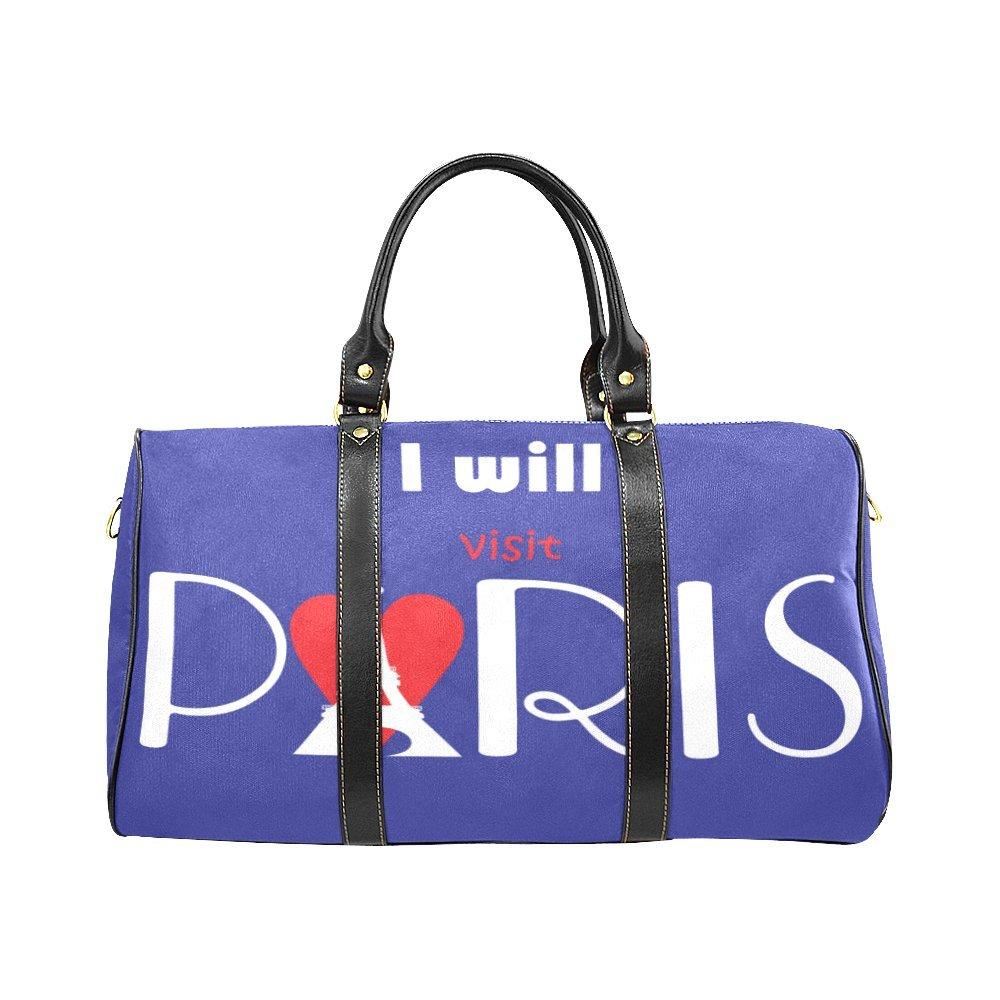 Vintage Eiffel Tower Butterfly Travel Duffel Bag Waterproof Weekend Bag with Strap