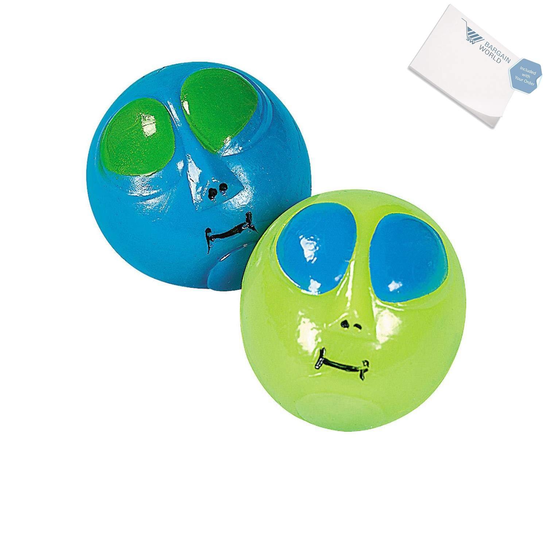 Bargain World Vinyl Alien Sticky Splat Balls (With Sticky Notes)