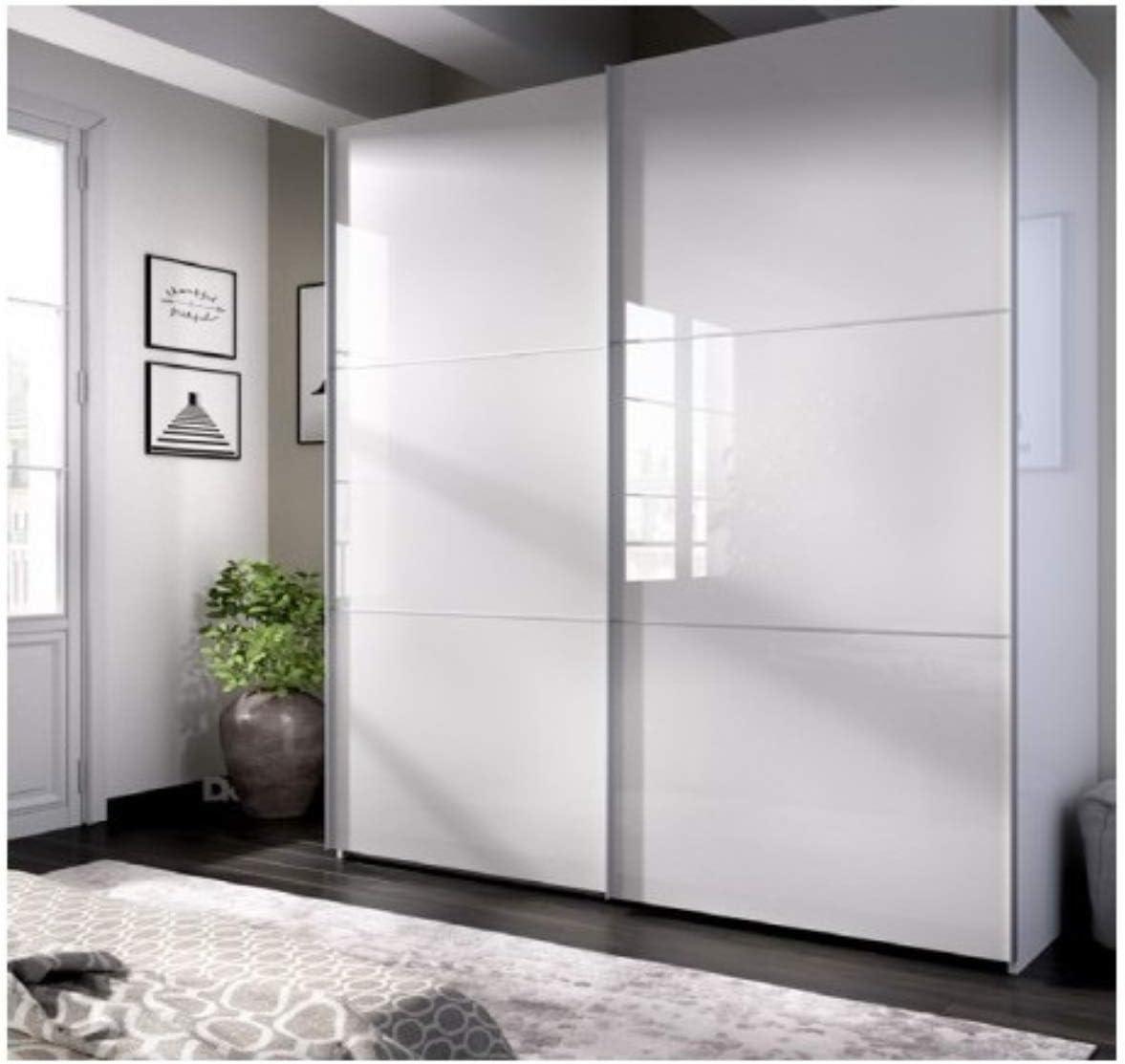DECOR NATUR-Armario DE Puertas CORREDERAS Modelo Slide Color Blanco Brillo-Medidas:Ancho: 120 cm- Alto: 204 cm Fondo: 50 cm