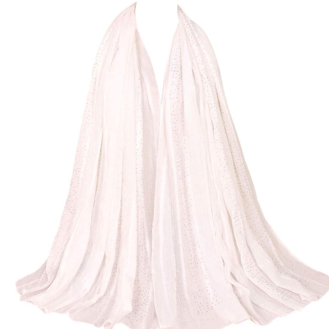 Women's Winter Warm Scarfs Long Soft Cotton Fashion Scarves Lightweight Shawls and Wraps for Evening Wedding Scarf Solid Colors White