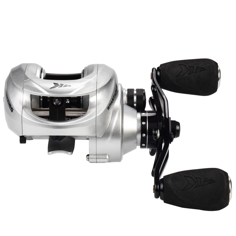1 Shielded Ball Bearings 6.3:1 Gear Ratio,11 Rubber Cork Handle Knobs Eposeidon KK-Spartacus Plus R3 KastKing Spartacus Plus Baitcasting Fishing Reel Ultra Smooth 17.5 LB Carbon Fiber Drag