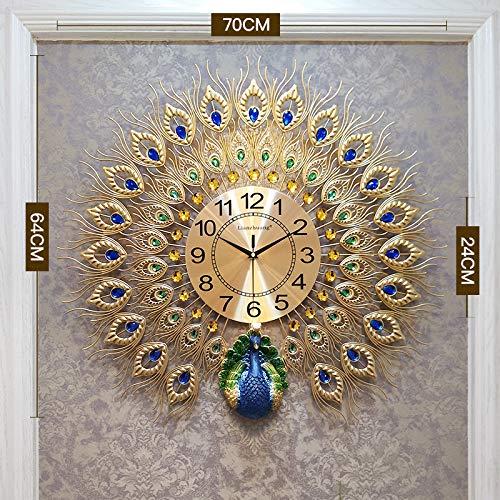 ERGOUZI Peacock Wall Clock, Living Room Personality Creative Fashion, Modern Minimalist Quartz Clock, European Silent Clock Gold 7064cm