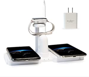 SmartShark Wireless Charger   3 in 1 Wireless Charging Station for Apple Watch, Air Pods, iPhone 11/11 Pro/11 Pro Max/Xs/Xs Max/X/XR/8/8Plus   Qi Fast Wireless Charger Stand for Samsung Galaxy s10/s20