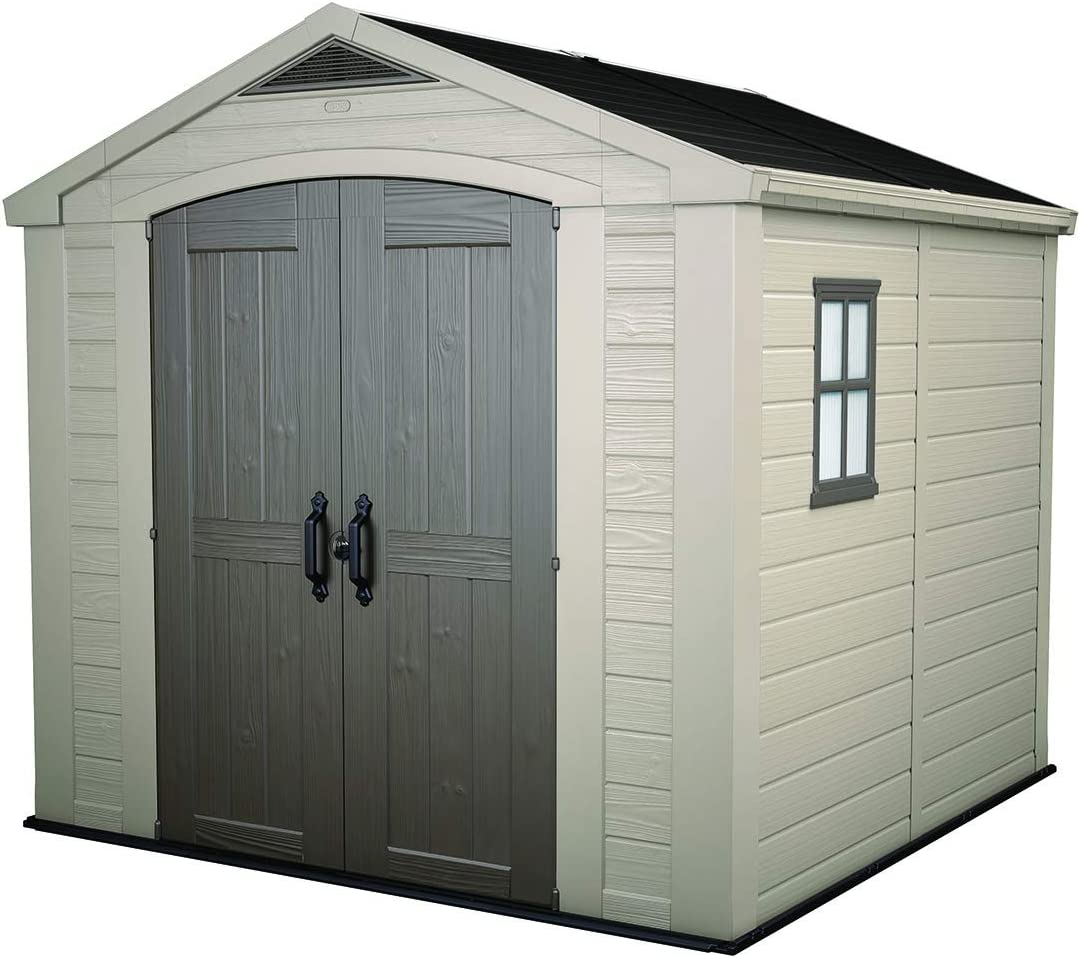 KETER Factor 32x32 Foot Large Resin Outdoor Shed with Floor for Patio  Furniture, Lawn Mower, and Bike Storage, Taupe & Brown