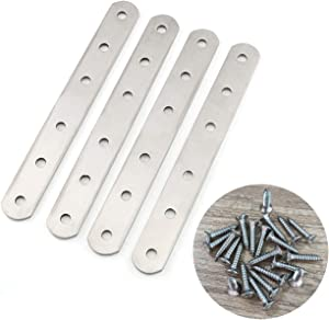 E-outstanding Flat Straight Brace Plate 4PCS 6 Hole Stainless Steel Straight Brace Brackets Furniture Fittings Connectors with 24pcs Fixing Mounting Screws 160x20x3mm