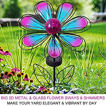 "Bright Zeal 12"" Wide Metal & Glass Flower LED Solar Garden Stake Lights (Blue & Purple, Crackle Glass Globe, Metal Frame) - Outdoor Landscape Lighting - Solar Lights Outdoor - Yard Decorations 23211"