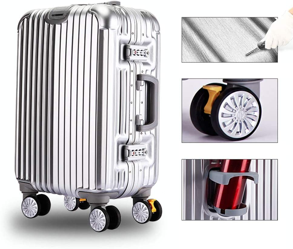 4 colors Multi-function Luggage stylish scratch-resistant brushed hidden hook large capacity suitcase large diameter brake wheel ABS+PC clamshell cup holder MING REN Luggage Sets Trolley case
