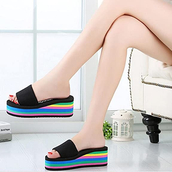 Women Slippers, Saingace Women Lovely Summer Slide- on High Platform Wedges  Rainbow Muffin Slope Sandals Female Beach Slippers Indoor & Outdoor Home:  ...