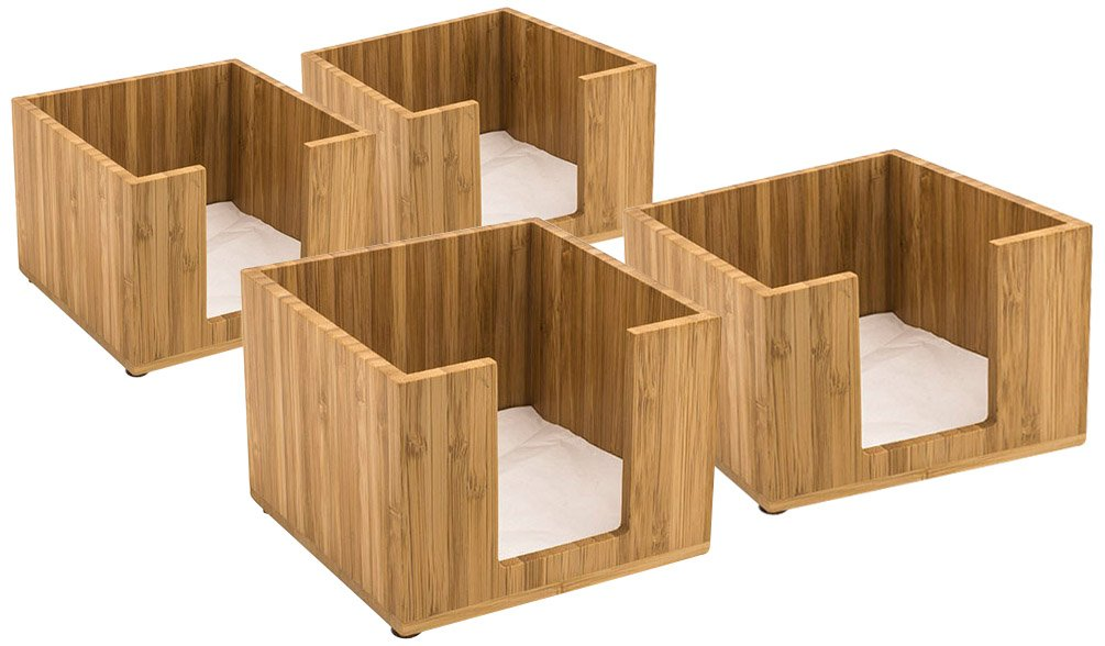 Front of the House BHO039BBB21 Napkin Holder, 4'' Height, 5width, 5Length, Bamboo (Pack of 4) by Front Of The House
