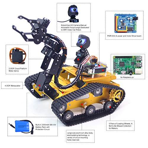 Upgraded WiFi Smart Robot Car Kit for Raspberry Pi, Gold Robot Tank