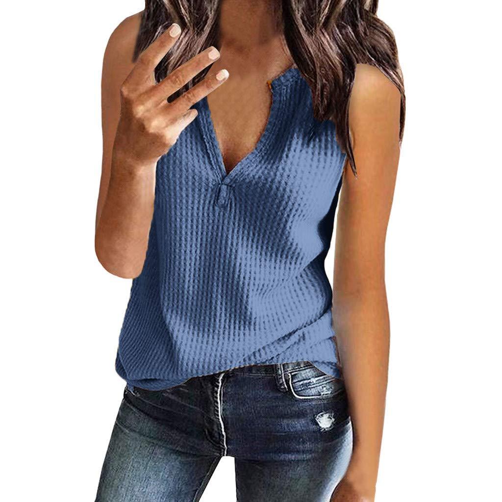FraftO Womens Waffle Knit Tunic Blouse V Neck Sleeveless Vest Loose Casual Shirts Tops Blue by FraftO