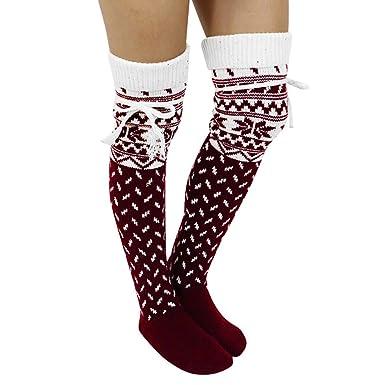 b6c8e556330 Ouneed- Chaussettes Montantes Femme Laine HIver Noel Motif Chaussettes  Hautes Thermique Chaussettes au genoux -