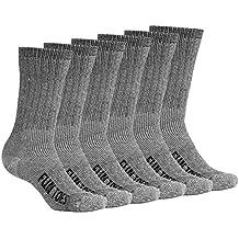 FUN TOES Men's Merino Wool Socks 6 PAIRS Value- Lightweight,Reinforced-Size 8-12