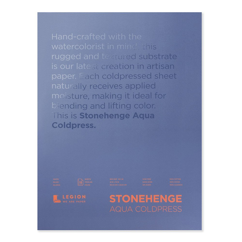Stonehenge Aqua L21-SQC140WH1216 Watercolor Block, 140 Pounds, Cold Press, 12 by 16 Inches, 15 Sheets, White by Stonehenge