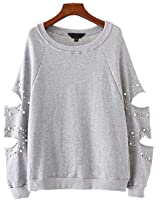 Vadim women chic cut out oversized pearls sweatshirt hollow out studde long sleeve loose pullover autumn