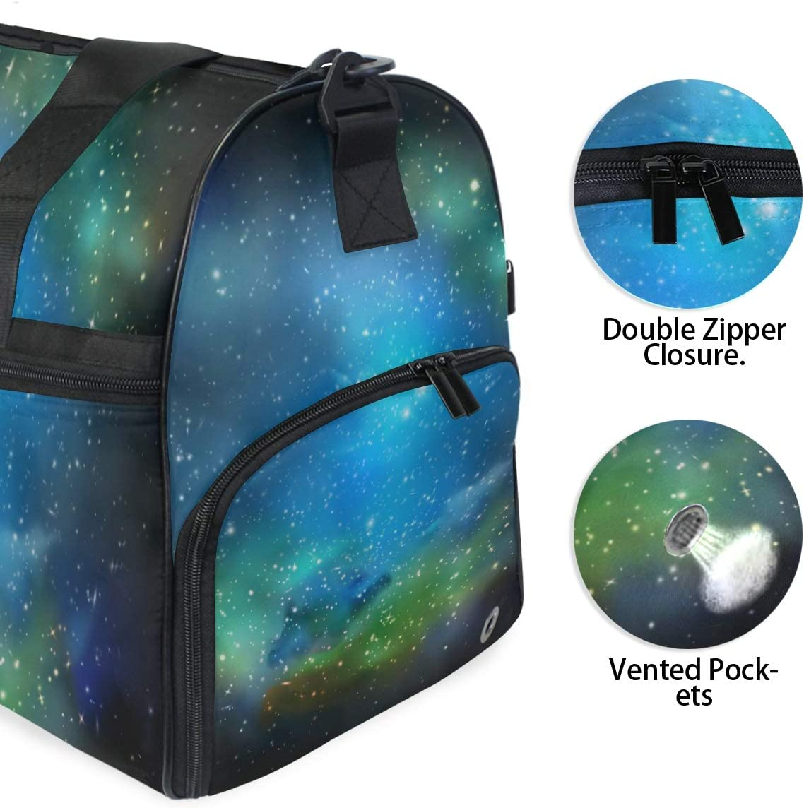 Space Travel Duffel Bag Luggage Sports Gym Bag With Shoes Compartment Large Capacity Lightweight Duffle Bag For Men Women
