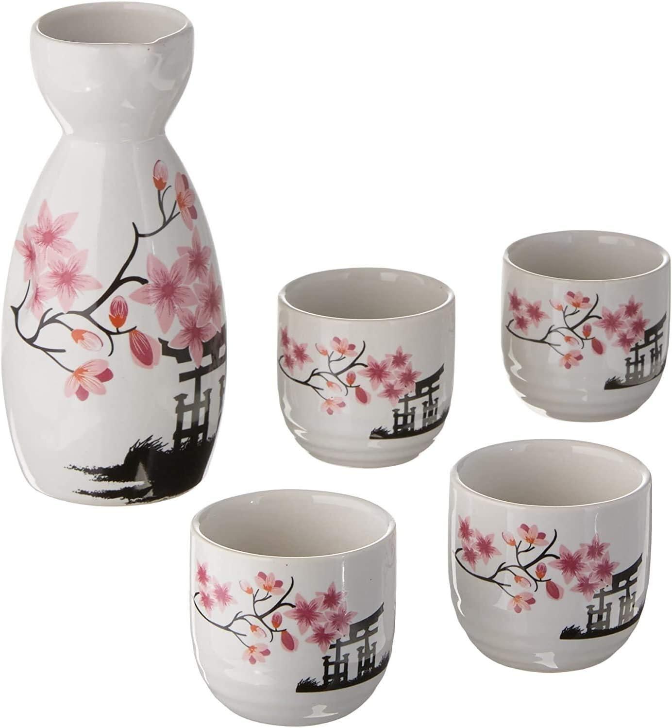 RENFEIYUAN Set de Sake japonés Rosa genérico, Porcelana, Blanco Jarra de Cerveza