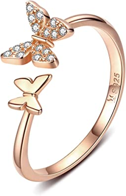 Engagement Chic Rhinestone Adjustable Size Opening Ring Butterfly Trees Ring