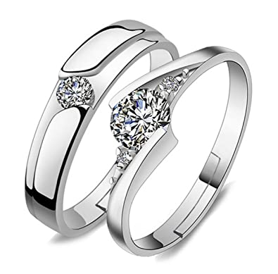 5c4dde315 Buy dc jewels Men's King & Queen Forever Silver Plated Adjustable Love  Couple Rings (Silver) Online at Low Prices in India | Amazon Jewellery  Store ...