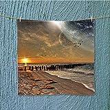 SeptSonne camping microfiber towel Magical Solar Eclipse on with Horizon Sun Globe Gulls ing View Cream Orange for Maximum Softness W19.7 x W19.7 INCH