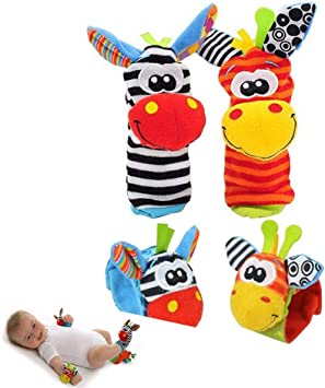 Deardeer 4 x Baby Infant Soft Toys Animal Wrist Rattles Hands Foots Finders Developmental Toys-Monkey and Elephant