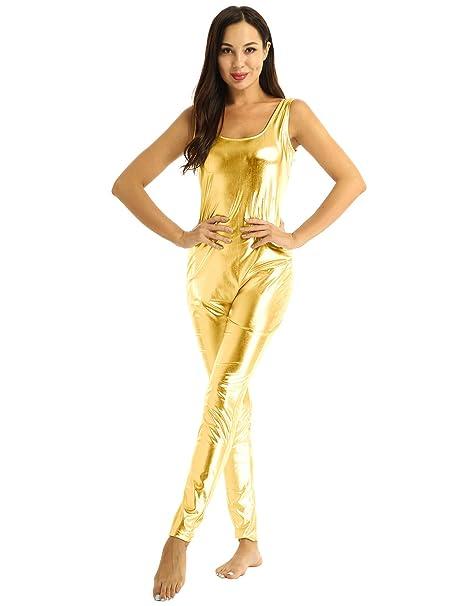MSemis Mono Danza Moderna para Mujer Maillot Brillante Body Entero ...