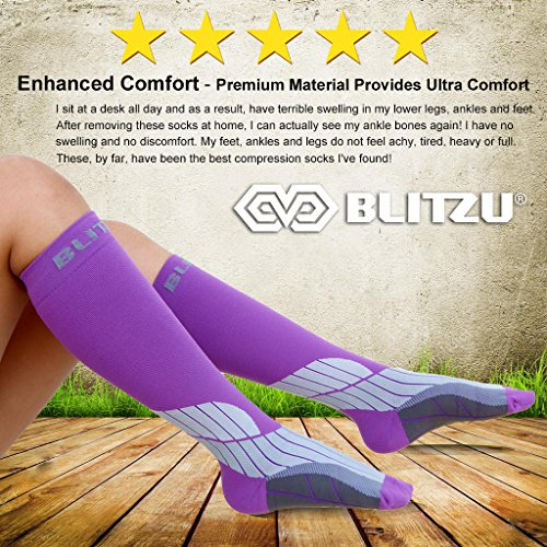 Blitzu Compression Socks 15-20mmHg for Men & Women BEST Recovery Performance Stockings for Running, Medical, Athletic, Edema, Diabetic, Varicose Veins, Travel, Pregnancy Relief Shin Splint L/XL Purple by BLITZU (Image #2)