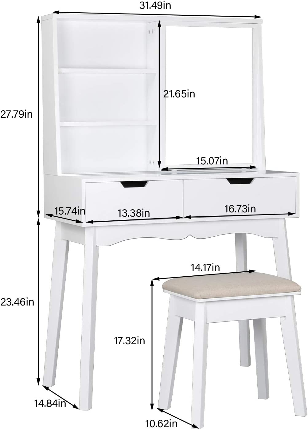 COZUHAUSE White Vanity Table Set with Movable Mirror Removable Jewelry Storage Box,Cushioning Stool,5 Racks,2 Drawer Dressing Table White